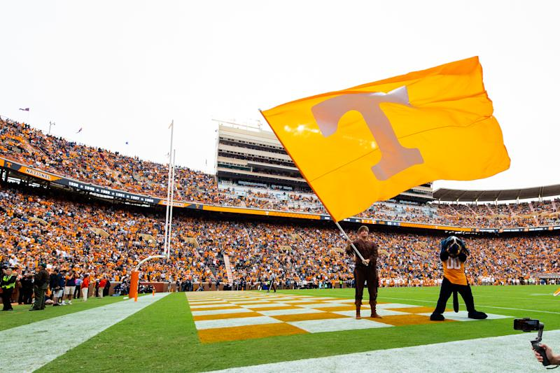 KNOXVILLE, TN - OCTOBER 12: General view of a Tennessee Volunteers flag during a game against the Mississippi State Bulldogs at Neyland Stadium on October 12, 2019 in Knoxville, Tennessee. (Photo by Carmen Mandato/Getty Images)
