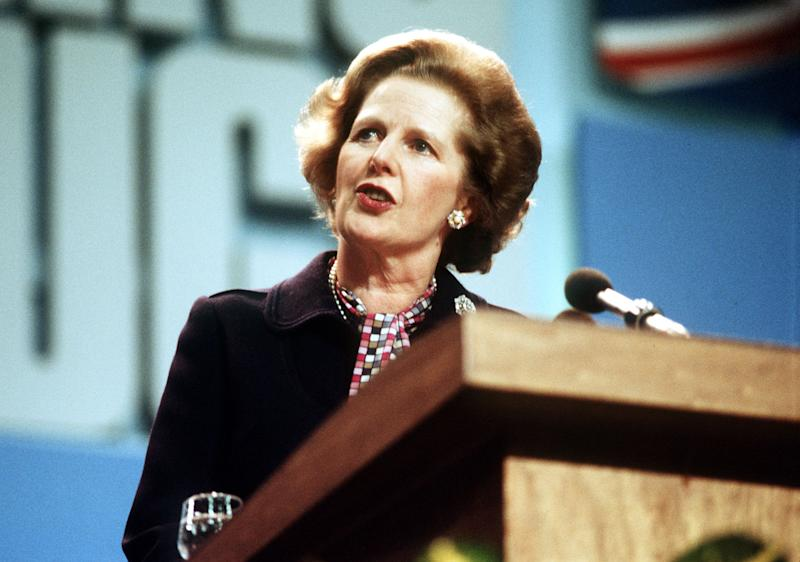 A library file picture of former Prime Minister Margaret Thatcher giving a speech during the Conservative Party Conference in Brighton. (Photo by PA Images via Getty Images)