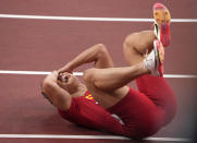 Bingtian Su, of China, reacts after winning a semifinal of the men's 100-meters at the 2020 Summer Olympics, Sunday, Aug. 1, 2021, in Tokyo, Japan. (AP Photo/Charlie Riedel)