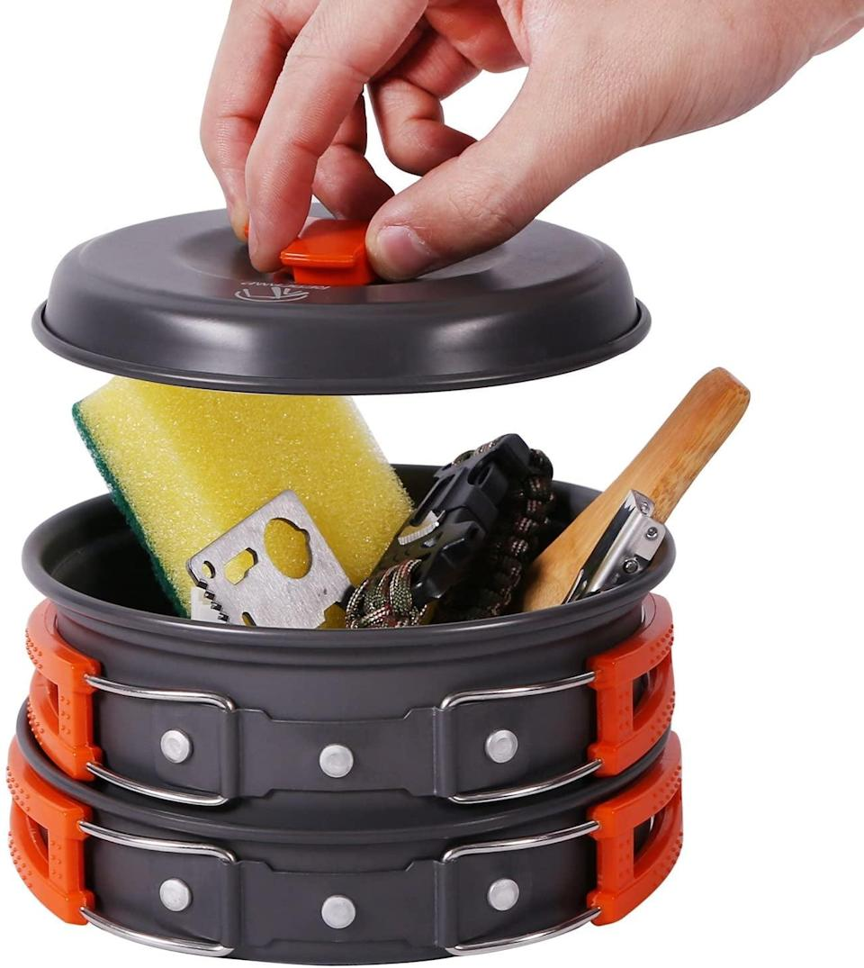 <p>Make your meals and snacks with this <span>Redcamp Camping Cookware Mess Kit</span> ($22).</p>