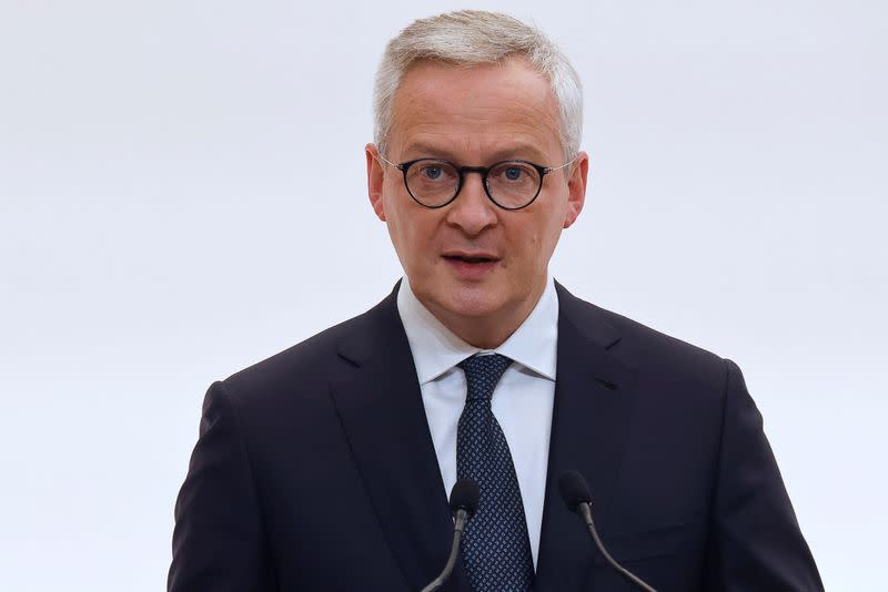 French Economy and Finance Minister Bruno Le Maire speaks during a press conference in Paris