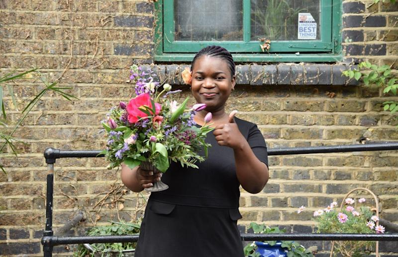Kendra's arrangement will be transported across London to its new owner