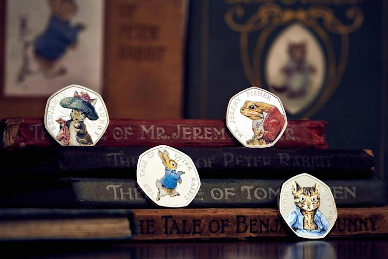 The Royal Mint unveils its 2017 Beatrix Potter limited edition commemorative coins, featuring four of her best-loved characters: Peter Rabbit, Benjamin Bunny, Tom Kitten and Jeremy Fisher. (Royal Mint)