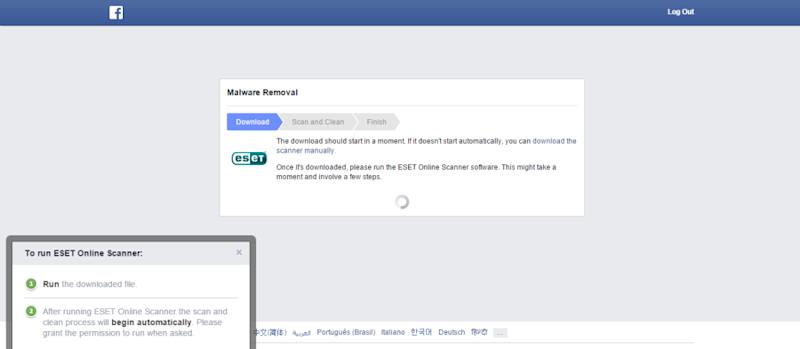 Follow Facebook's instructions to download the ESET Online Scanner software.