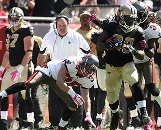 In Week 6 against the Bucs, Ivory notched his first 100-yard game, running for 158 yards in a New Orleans victory