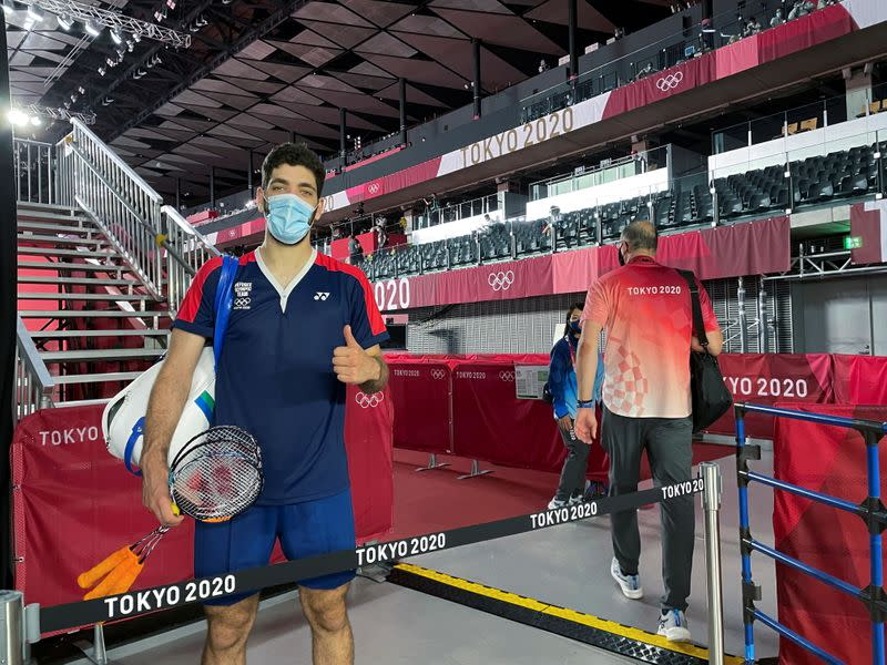 Syrian refugee and Olympic badminton player Aram Mahmoud poses after a match at Musashino Forest Sports Plaza in Tokyo