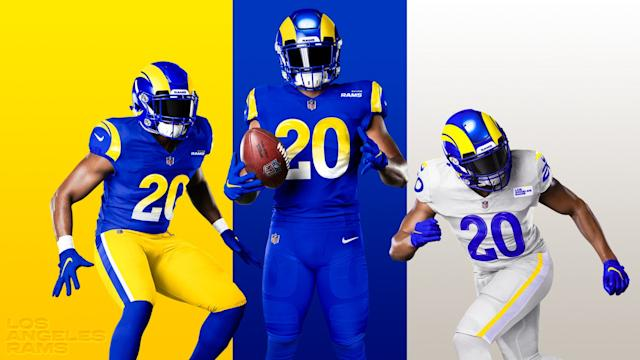 "The Rams describe the colors of their new uniforms as Rams Royal (blue), Sol (yellow) and Bone (white). <span class=""copyright"">(Los Angeles Rams)</span>"