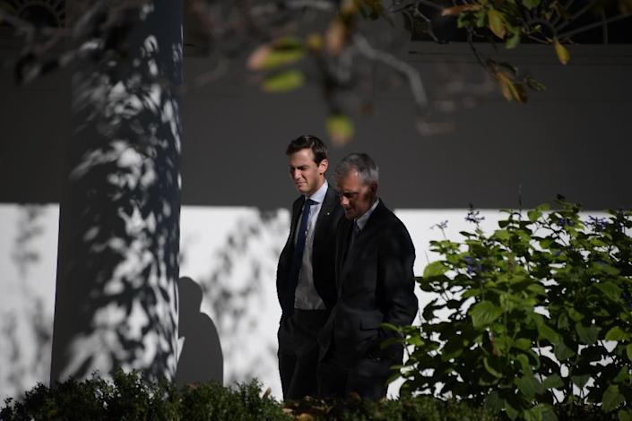 White House Chief of Staff Denis McDonough (R) and Jared Kushner are seen at the White House November 10, 2016 (AFP Photo/Jim Watson)