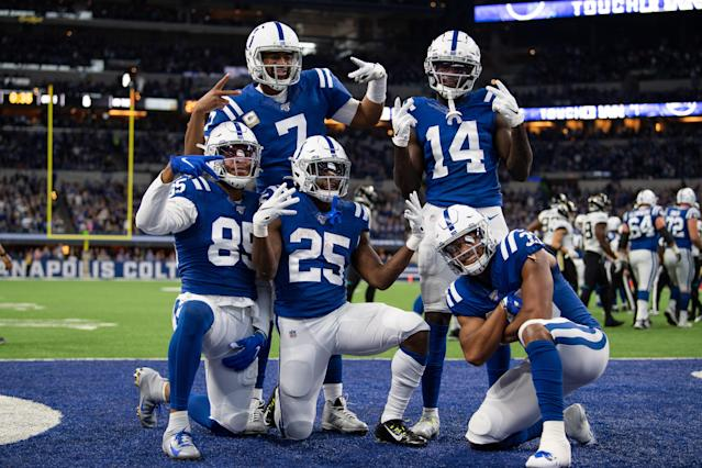 The Colts brought their A-plus celebration game against the Jaguars on Sunday. (Photo by Zach Bolinger/Icon Sportswire via Getty Images)