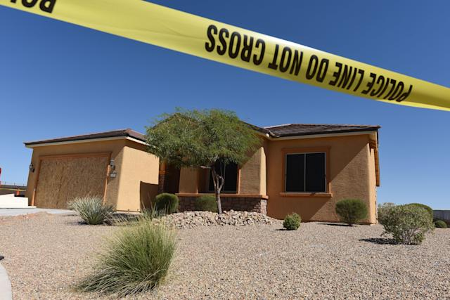 <p>The home of Stephen Paddock is seen in Mesquite, Nev., Oct. 3, 2017. Stephen Paddock killed dozens of people and wounded hundreds when he opened fire on a country music concert in Las Vegas, Nevada on Oct. 1, 2017. (Photo: Robyn Beck/AFP/Getty Images) </p>