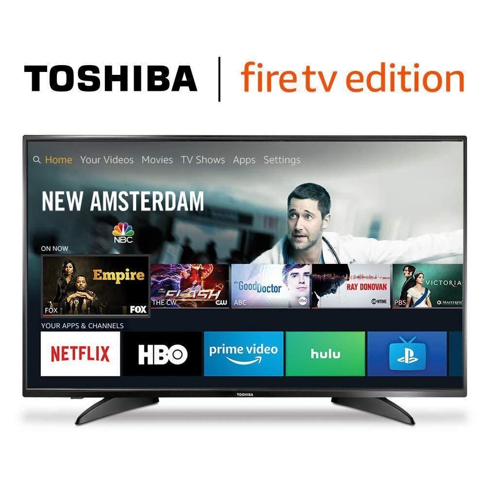 """One of Amazon Prime Day 2019's best TV deals is this 43-inch Toshiba HD Fire TV Edition Smart TV that's on sale for only $180. <a href=""""https://www.amazon.com/Toshiba-43LF621U19-43-inch-Ultra-Smart/dp/B07FPSBZQB?tag=thehuffingtop-20"""" rel=""""nofollow noopener"""" target=""""_blank"""" data-ylk=""""slk:It's an early Amazon Prime deal that you can shop now"""" class=""""link rapid-noclick-resp"""">I<strong>t's an early Amazon Prime deal that you can shop now</strong></a>. (Photo: Amazon)"""