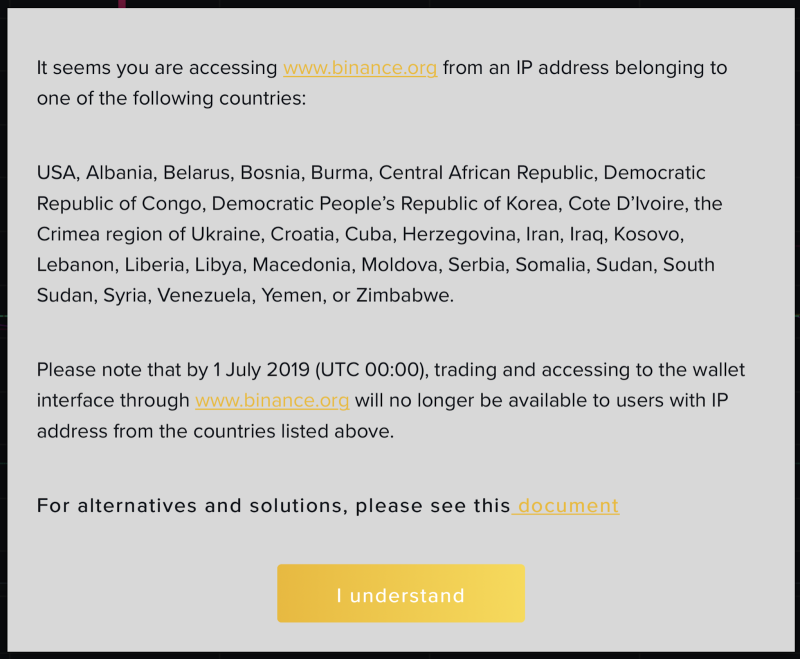 Pop-up when accessing binance.org from within the U.S.