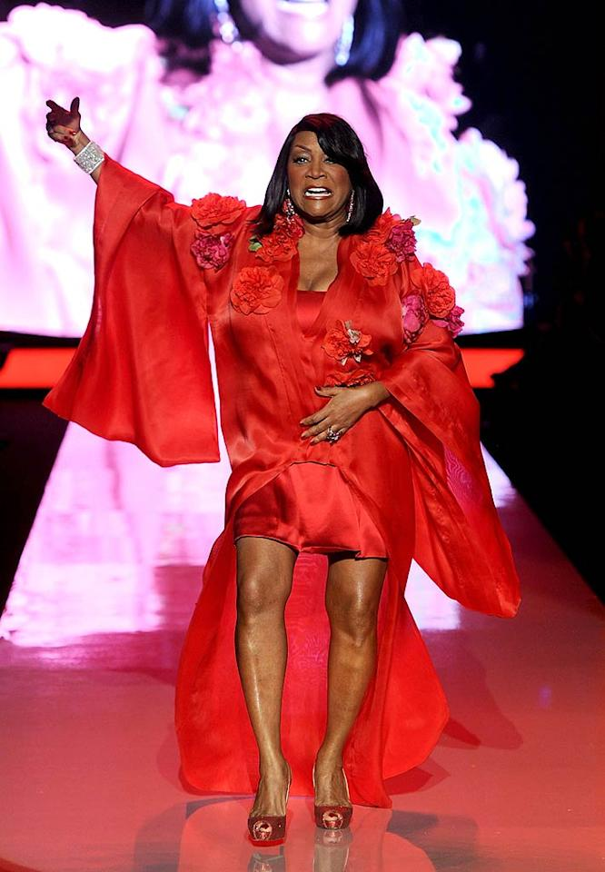 """Singer Patti LaBelle showed off her gams in a Zang Toi mini dress paired with a flower-embellished jacket. Frazer Harrison/<a href=""""http://www.gettyimages.com/"""" target=""""new"""">GettyImages.com</a> - February 9, 2011"""