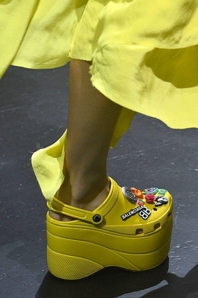 A model walks the runway during the Balenciaga Spring/Summer 2018 fashion show wearing Crocs during Paris Fashion Week on October 1, 2017 in Paris, France. (Photo: Victor VIRGILE/Gamma-Rapho via Getty Images)