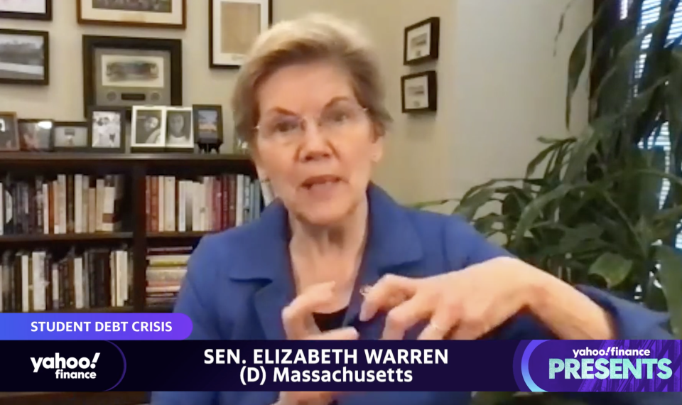 Senator Elizabeth Warren. (screenshot/Yahoo Finance)