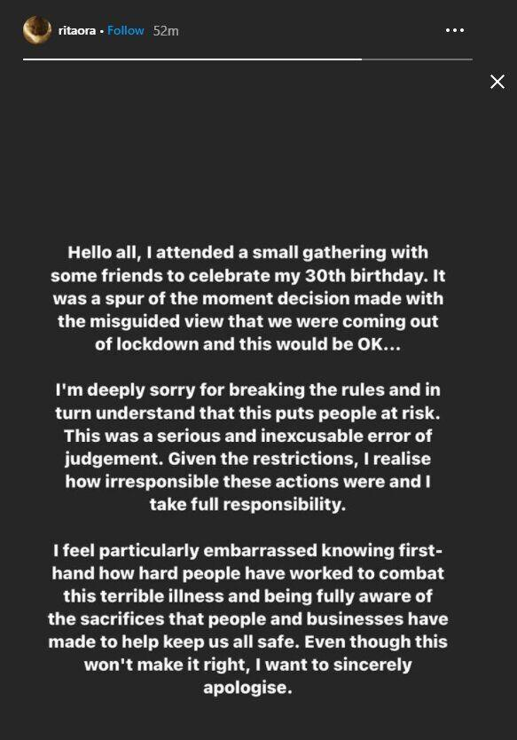 Rita posted this apology on Instagram (Photo: Instagram)