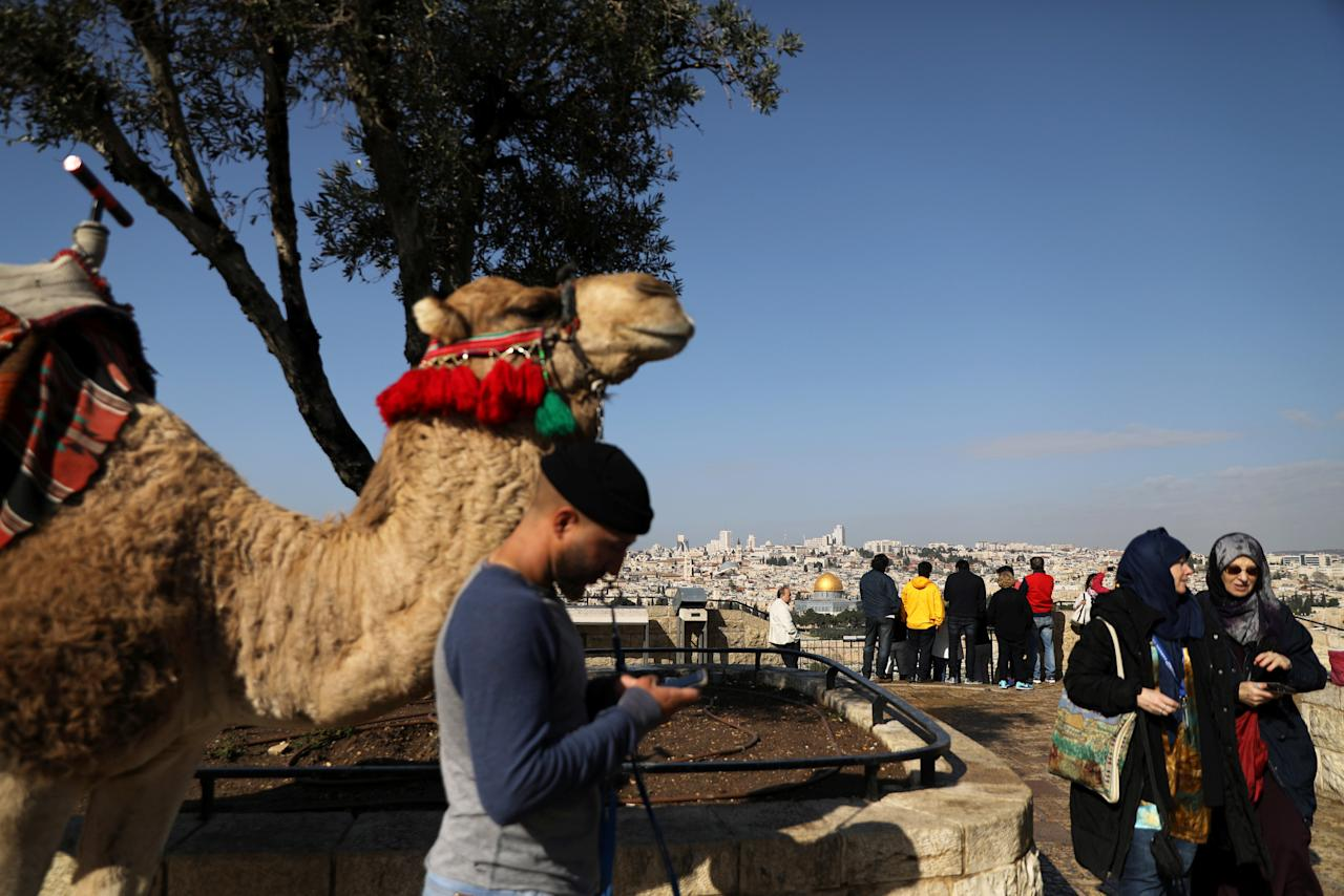 A man stands next to a camel as tourists visit an observation point on Mount of Olives overlooking Jerusalem's Old City, February 22, 2018. REUTERS/Ammar Awad