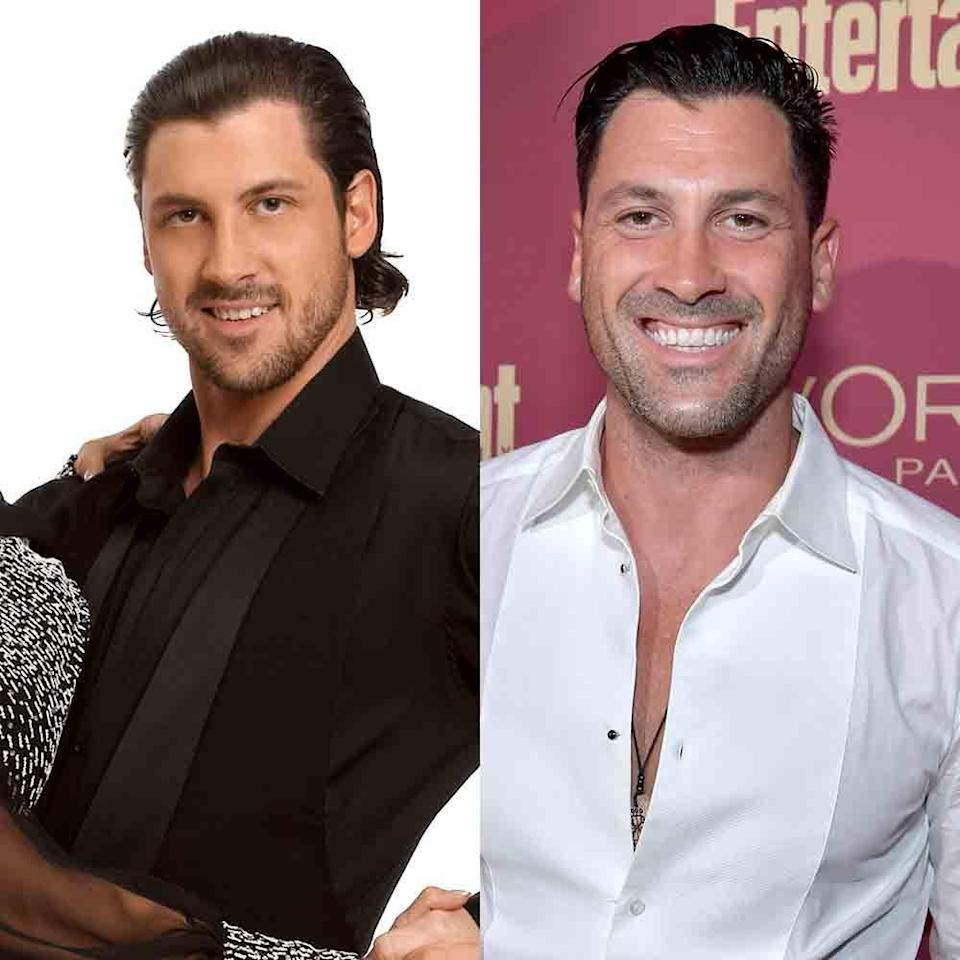"""<p>Maks has participated in a whopping 17 seasons of <em>Dancing With The Stars</em>, winning season 18 with ice dancer Meryl Davis. His longest uninterrupted run on the show was from seasons seven through 15, and his last appearance was with Vanessa Lachey on season 25. Since then, he married fellow pro Peta Murgatroyd, with whom he has a son, and he's taking a break from the show to <a href=""""https://people.com/tv/maksim-chmerkovskiy-reveals-why-not-returning-dancing-with-the-stars/"""" rel=""""nofollow noopener"""" target=""""_blank"""" data-ylk=""""slk:focus on his family"""" class=""""link rapid-noclick-resp"""">focus on his family</a>.</p>"""