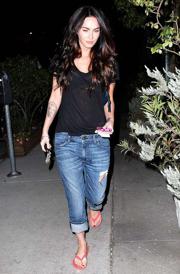 """Transformers"" hottie Megan Fox opts to roll up her torn trousers. LAX/<a href=""http://www.x17online.com"" target=""new"">X17 Online</a> - February 21, 2009"