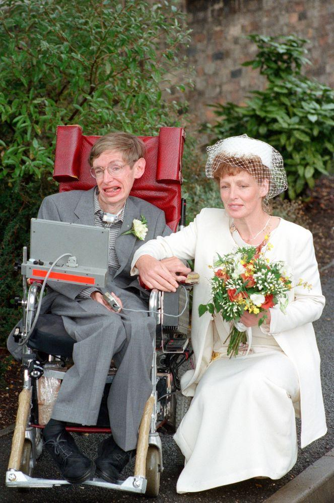 Stephen Hawking on his wedding day with wife Elaine Mason in 1995. They divorced in 2006