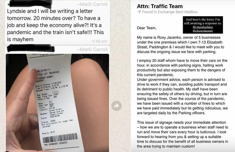 The fine Ms Jacenko's staff member received (LEFT) and the letter the businesswoman wrote to council in July. Source: Instagram