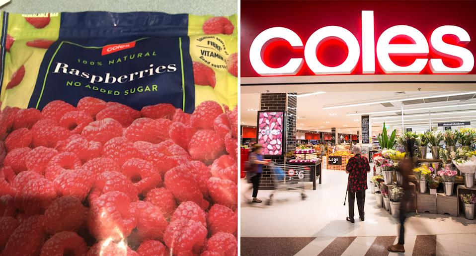 Coles frozen raspberry bag pictured next to front of Coles store.