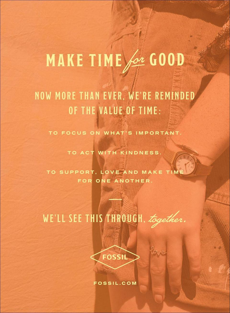 <p>Make time for good. Now more than ever, we're reminded of the value of time:</p><p> To focus on what's important. </p><p>To act with kindness. </p><p>To support, love, and make time for one another. </p><p>We'll see this through, together. </p>