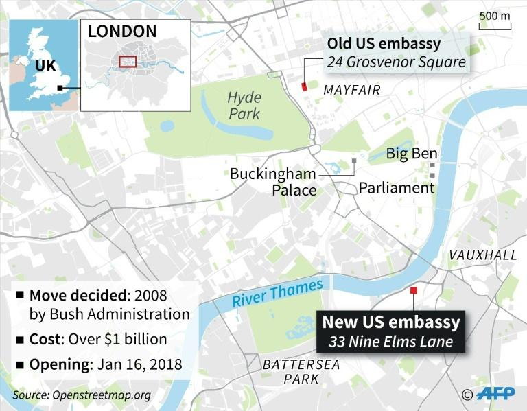 Map of London locating the old and new US embassies