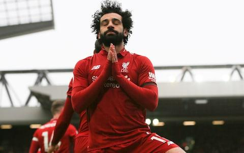 <span>Mohamed Salah of Liverpool celebrates scoring his team's second goal</span> <span>Credit: Getty Images </span>