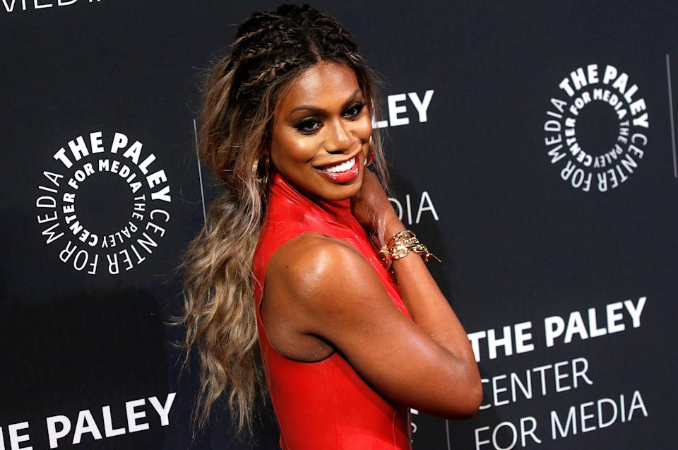 Laverne Cox has been praised for her 'vulnerability' after speaking out against transgender violence in a candid video [Photo: Getty]