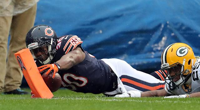 <p>Chicago Bears running back Benny Cunningham (30) runs ahead of the Green Bay Packers defense but his dive for the end zone was ruled a fumble and turnover after review in the second quarter Sunday, Nov. 12, 2017 at Soldier Field in Chicago. The Packers won, 23-16. (Brian Cassella/Chicago Tribune/TNS) </p>
