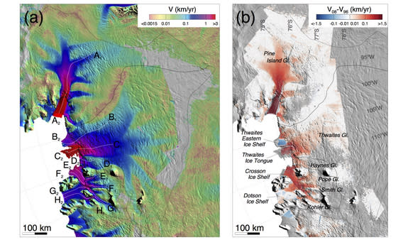 Rates of change in West Antarctica's glaciers measured from satellite observations since 1973.