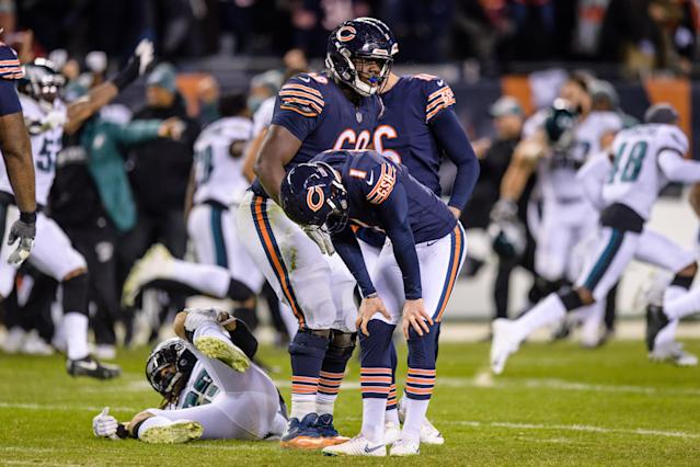 """The pressure on <a class=""""link rapid-noclick-resp"""" href=""""/nfl/players/27911/"""" data-ylk=""""slk:Cody Parkey"""">Cody Parkey</a> is now reality with the <a class=""""link rapid-noclick-resp"""" href=""""/nfl/teams/chicago/"""" data-ylk=""""slk:Chicago Bears"""">Chicago Bears</a> bringing in kickers for workouts. (Photo by Daniel Bartel/Icon Sportswire via Getty Images)"""