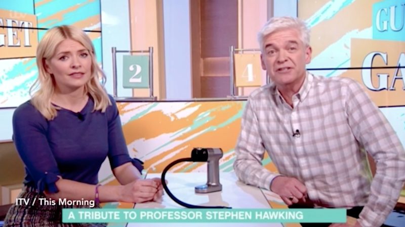 Hosts Holly Willoughby and Phillip Schofield introduced a picture reel to showcase the inspirational life of Hawking, but the wrong song was played. Source: ITV
