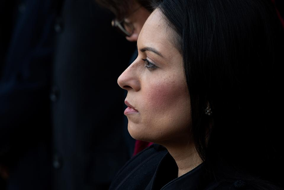 LONDON, ENGLAND - DECEMBER 02: Home Secretary, Priti Patel attends a vigil for victims Jack Merritt, 25, and Saskia Jones, 23 of the London Bridge attack and to honour the public and emergency services who responded to the incident at the Guildhall Yard on December 2, 2019 in London England. Usman Khan, a 28 year old former prisoner convicted of terrorism offences, killed two people in Fishmongers' Hall at the North end of London Bridge on Friday, November 29, before continuing his attack on the bridge. Mr Khan was restrained and disarmed by members of the public before being shot by armed police. (Photo by Leon Neal/Getty Images)