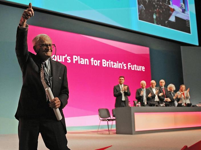 Smith at the Labour conference in Manchester in 2014 where his speech moved many to tears (Getty)