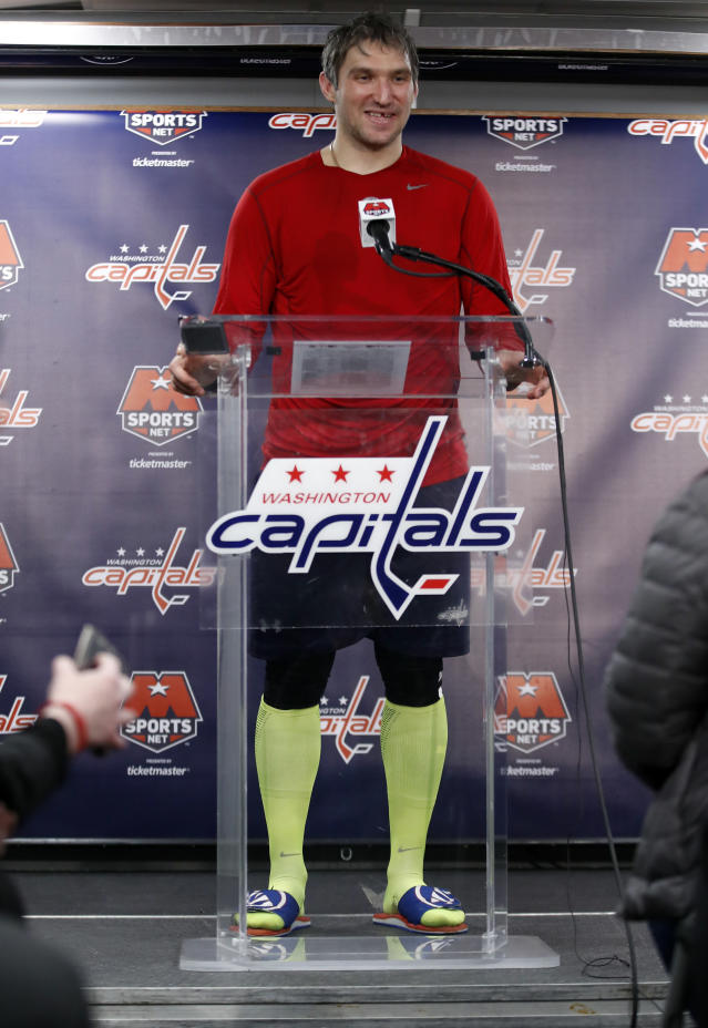 Washington Capitals left wing Alex Ovechkin speaks during a media availability after an NHL hockey game against the Winnipeg Jets, Monday, March 12, 2018, in Washington. Ovechkin scored his 600th career goal during the game. (AP Photo/Alex Brandon)