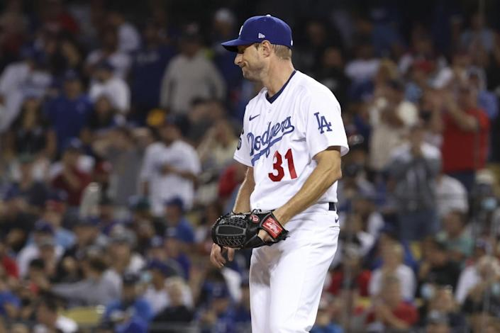 Los Angeles Dodgers starting pitcher Max Scherzer reacts on the mound during the fifth inning