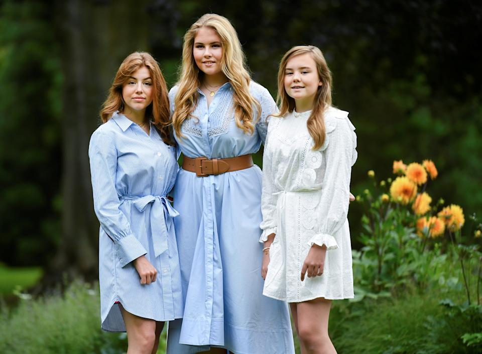 Princesses Alexia, Amalia and Ariane of the Royal family pose during an official photo session in The Hague, Netherlands July 17, 2020. REUTERS/Piroschka van de Wouw/Pool