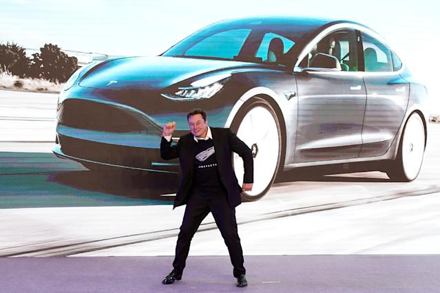 Tesla Inc CEO Elon Musk dances onstage during a delivery event for Tesla China-made Model 3 cars in Shanghai on 7 January. Photo: Aly Song/Reuters