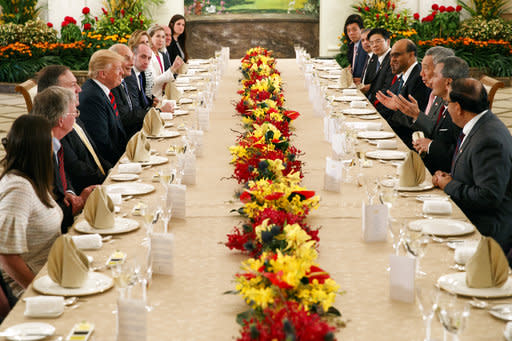 President Donald Trump meets with Singapore Prime Minister Lee Hsien Loong. (AP Photo/Evan Vucci)