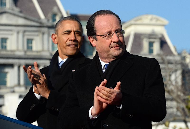 US President Barack Obama and French President Francois Hollande (R), pictured in Washington on February 11, 2014, will meet at the White House on November 24, 2015