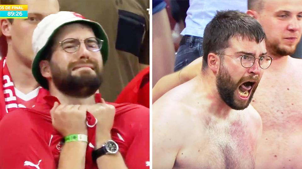 Swiss fan (pictured left) in tears after Switzerland's miss and (pictured right) celebrating after a goal.