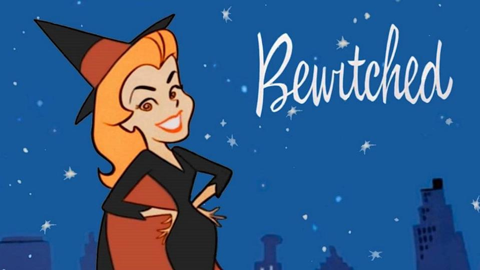 Bewitched logo with animated Samantha