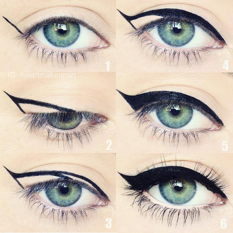 <p>To get a great cat eye, start with the wings first. Break it up into three steps. Draw a straight line from the corner of your eye towards the tip of your eyebrow. It should be as long as the flick you want. Then draw another line from the tip of the flick to the middle of your eyelid so that you get a triangle. Then draw a thin line to connect the inner corner of your eye. Now fill in the outlines and you have bold statement eyes!<br /> Photograph: iheartmakeupart/ Instagram </p>
