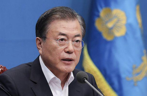 PHOTO: South Korean President Moon Jae-in attends the meeting regarding the Japan's decision to remove South Korea from a 'whitelist' of favored export partners at Presidential Blue House on Aug. 2, 2019 in Seoul. (South Korean Presidential Blue House via Getty Images)