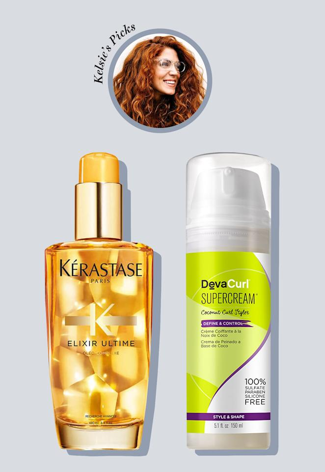 """DevaCurl has taught me so much about my hair type. Its <a href=""""https://shop-links.co/1681374500024614115"""" rel=""""nofollow"""">SuperCream</a> and <a href=""""https://shop-links.co/1681374585725132086"""" rel=""""nofollow"""">Kerastase Elixir Ultime Original Oil</a> are my holy grail products, keeping things light and soft and not allowing my curls to be crunchy or too oily. Wrapping my hair in a cotton T-shirt rather than a towel to dry reduces frizz, and unless I'm in the mountains during the warmer months where the air perfectly dries my hair, I use a diffuser for magnified soft and bouncy curls."""