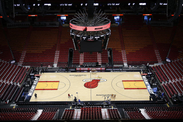 American Airlines Arena in Miami is one of many NBA venues that will be empty for the foreseeable future due to the coronavirus pandemic. (Michael Reaves/Getty Images)