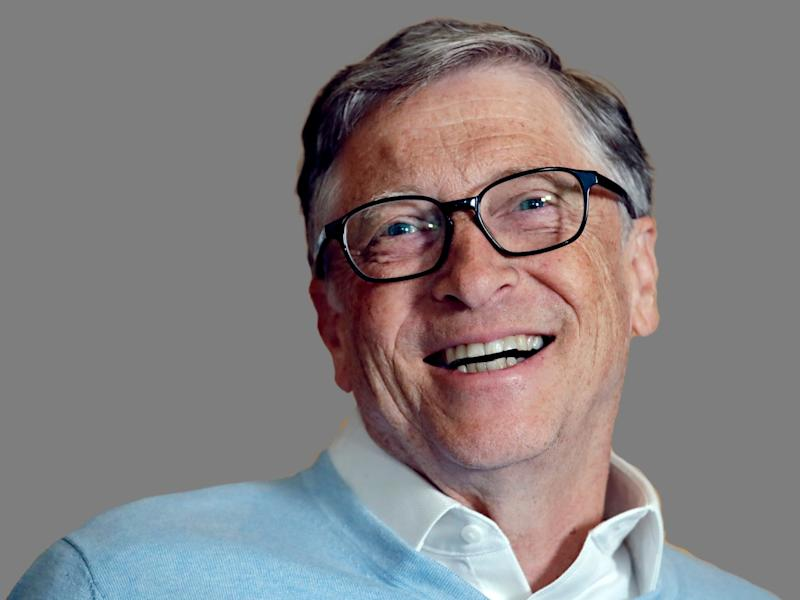 Bill Gates headshot, philanthropist and co-founder of Microsoft, graphic element on gray