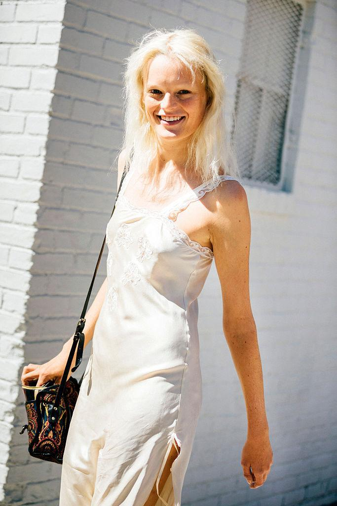 Belgian model Hanne Gaby Odiele exits the Vera Wang show in on September 15, 2015 in New York City. (Photo: Getty Images)
